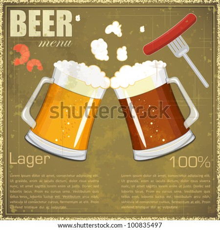Vintage postcard, cover menu - Beer, beer snack - Retro style  - vector illustration - stock vector
