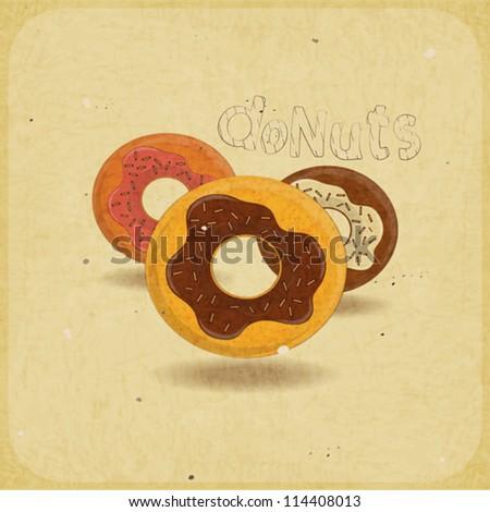 Vintage postcard, cover menu - donuts on vintage background - vector illustration - stock vector