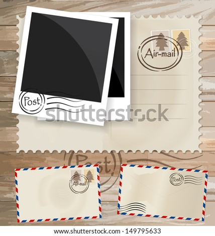 Vintage postcard designs, envelope and postage stamps. Vector EPS10 - stock vector