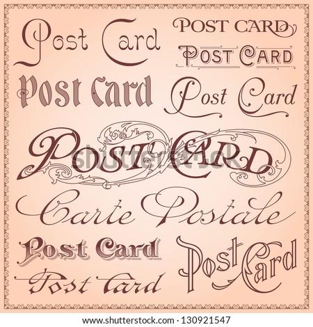 Vintage postcard lettering vector - stock vector