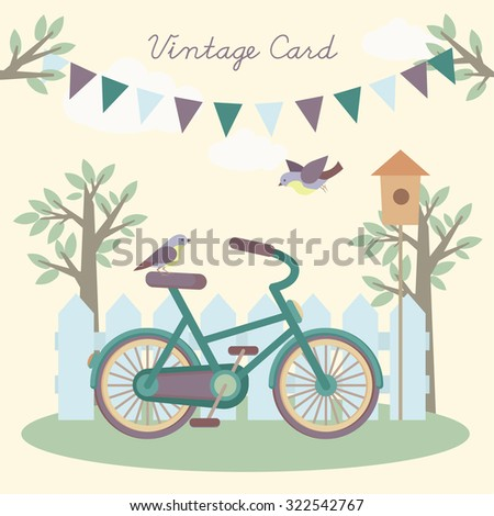 Vintage postcard, or the background for your design. With a picture of the bike, bicycle, fence, trees, branches and birds. - stock vector