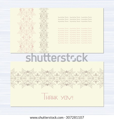 Vintage postcard. Wedding invitations, banner, background. Beautiful patterns. Space for text. Set. template - stock vector