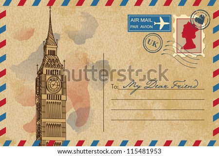 Vintage postcard with Big Ben - stock vector