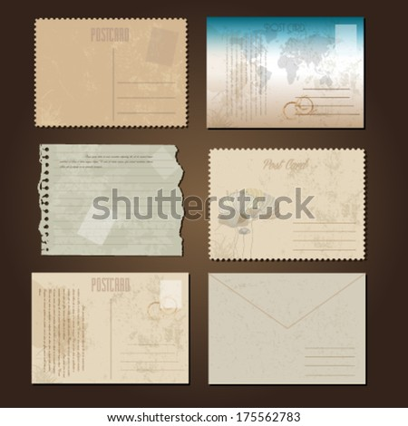 Vintage postcards and old paper  - stock vector