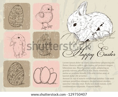 Vintage poster about Easter. Vector illustration EPS8 - stock vector