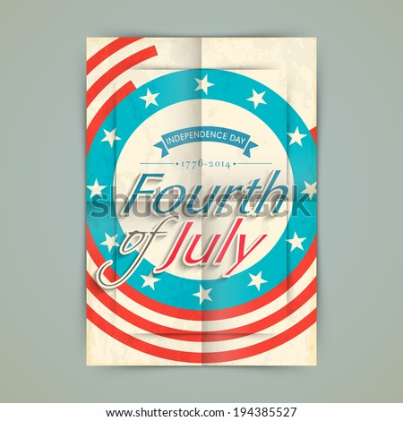Vintage poster, banner or flyer design with stylish text Fourth of July on American flag color background.  - stock vector