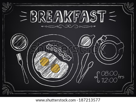 Vintage Poster - Breakfast. Freehand drawing on the chalkboard: fried eggs and coffee - stock vector