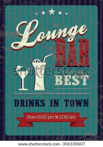 Vintage poster for lounge bar. Vector illustration. - stock vector