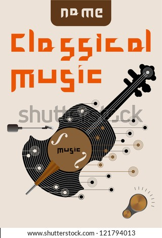 Vintage Poster of classical music - stock vector