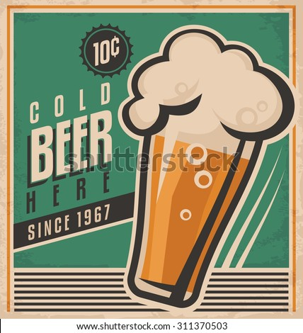 Vintage poster template for cold beer. Retro beer vector poster. Vector old paper texture food and drink background concept. Retro label or banner design. No gradients and effects, just fill colors. - stock vector