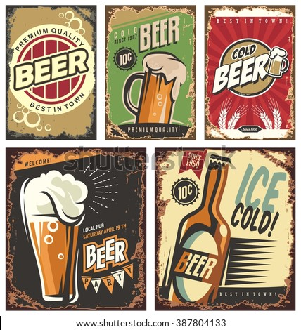 Vintage poster templates for cold beer. Retro beer vector signs set. Retro label or banners design collection. No gradients no effects, just fill colors. Cold beer tin signs.  Beer wall decor. - stock vector