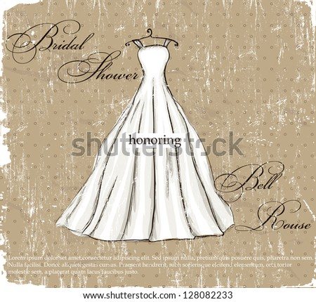 Vintage poster with beautiful wedding dress. Vector illustration EPS8 - stock vector