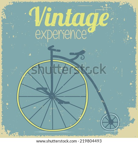 Vintage poster with bicycle - stock vector