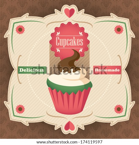 Vintage poster with cupcake. Vector illustration. - stock vector