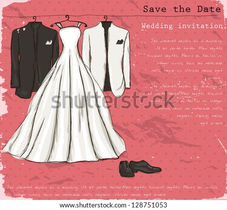 Vintage poster with with a wedding dress and tuxedo. Vector illustration EPS8 - stock vector