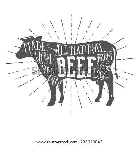 Vintage premium beef typographic label - stock vector
