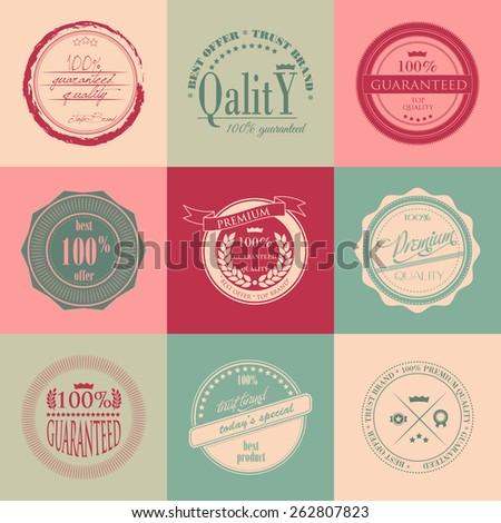 Vintage premium quality labels and  badges  set - stock vector