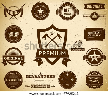 Vintage Premium Quality labels. Collection 6 - stock vector