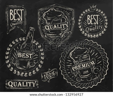 Vintage print design elements on the subject of beer quality stylized under a chalk drawing on the theme of beer on a black background (retro style, foam, ribbons, twig, hops, graphics) - stock vector