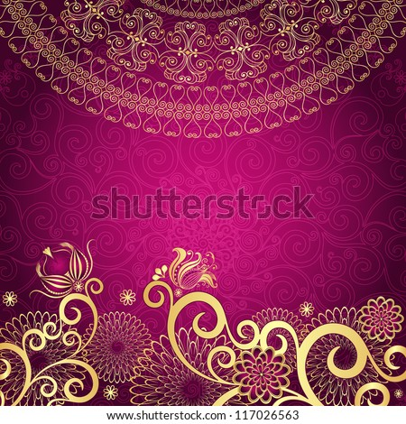 Vintage purple frame with gold flowers (vector EPS10) - stock vector