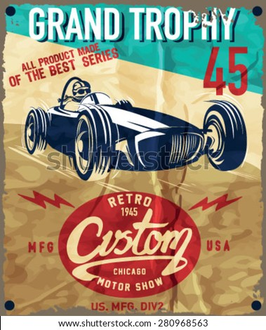vintage race car for printing.vector old school race poster.retro race car set - stock vector