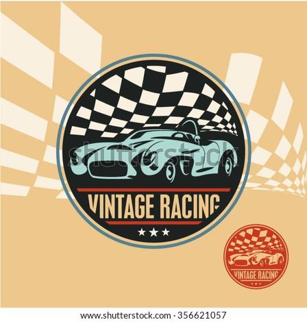 Vintage racing car label, retro sport car vector sign - stock vector