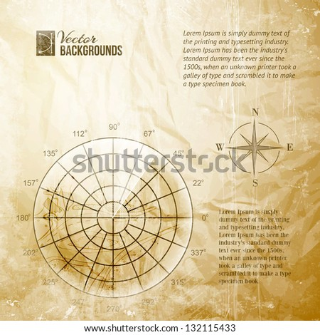 Vintage radar screen over grid lines and map. Vector illustration, contains transparencies, gradients and effects. - stock vector