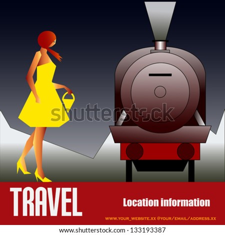 Vintage Rail Travel, vector background with an art deco style Steam Locomotive and girl in a yellow dress - stock vector