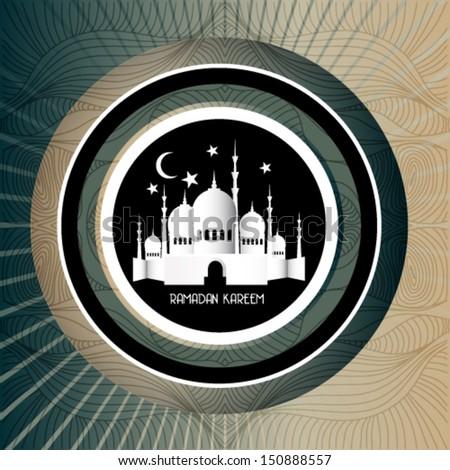 Vintage Ramadan Kareem background with 3d paper - stock vector