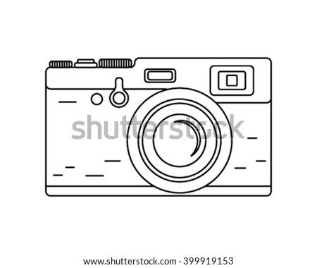 vintage rangefinder film camera. Retro camera in a linear graphic style. Vector illustration - stock vector
