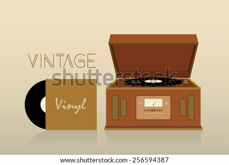 Vintage record player vector illustration - stock vector