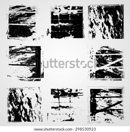Vintage Rectangle Stamps Collection . Grunge Squares. Modern background. Retro Background. Distressed Texture Background. - stock vector