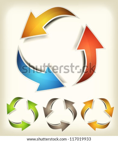 Vintage Recycle Arrows/ Illustration of a collection of abstract glossy dynamic recycle arrows loops, for connection, refresh, endless or environmental protection symbols - stock vector