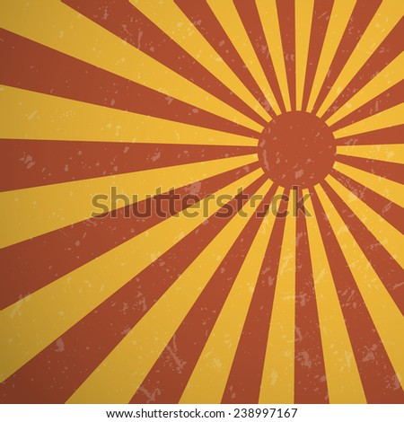 Vintage red rising sun or sun ray background design, Vector EPS10. - stock vector