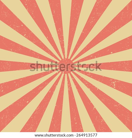 Vintage red sun - stock vector