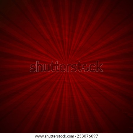 Vintage Red Sunburst Poster With Gradient Mesh, Vector Illustration - stock vector