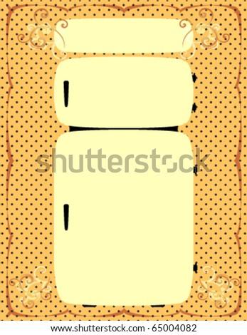 Vintage Refrigerator Illustration on a Decorative Background. - stock vector