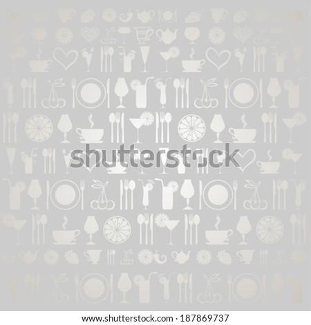 Vintage restaurant menu. Food and drink seamless doodles pattern. Vector illustration  - stock vector