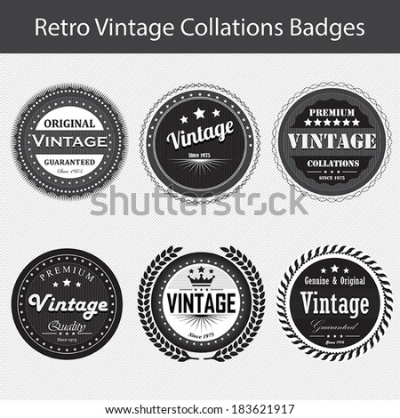 Vintage retro badges and labels - stock vector