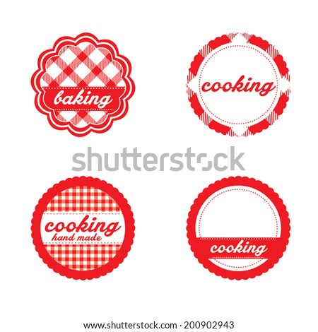Vintage retro bakery labels, red gingham - stock vector