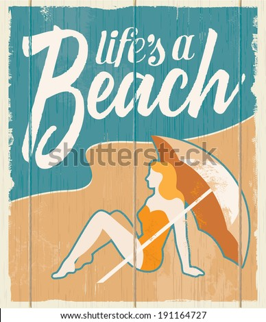 Vintage retro beach poster - Vector wooden sign with removable texture. - stock vector