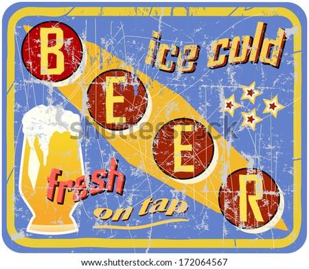 vintage, retro beer sign, vector illustration - stock vector