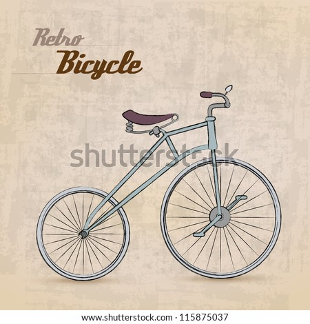 Vintage Retro Bicycle /with hand drawn design | EPS10 Compatibility Required - stock vector