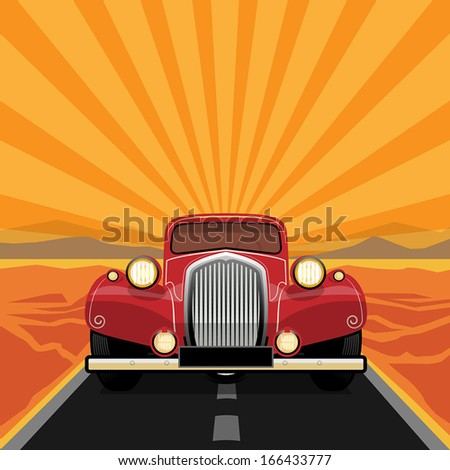 Vintage, retro car, vector illustration - stock vector