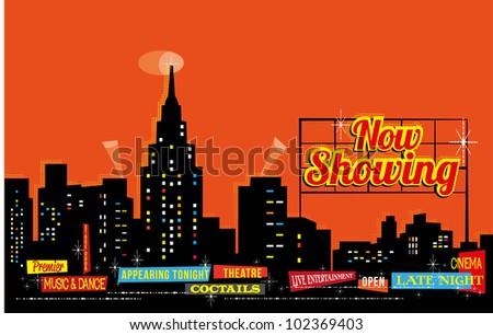 Vintage Retro City Nightlife - editable vector background - stock vector