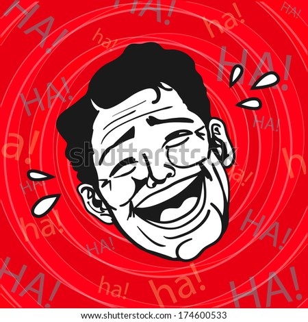 Vintage Retro Clipart : Lol, Man Laughing Out Loud - stock vector