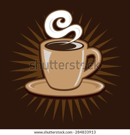 Vintage Retro Coffee Cup - stock vector