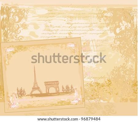vintage retro Eiffel card - stock vector