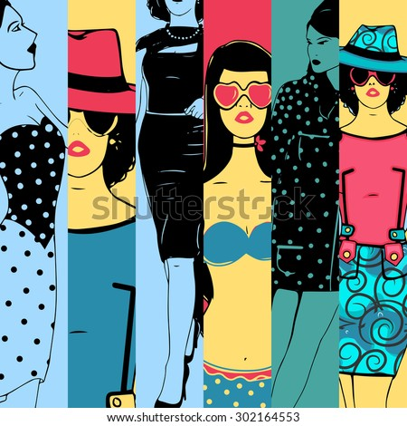 Vintage retro fashion collection with creative illustration of young fashionable girl in retro fashion. - stock vector