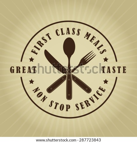 Vintage Retro First Class Meals Seal - stock vector
